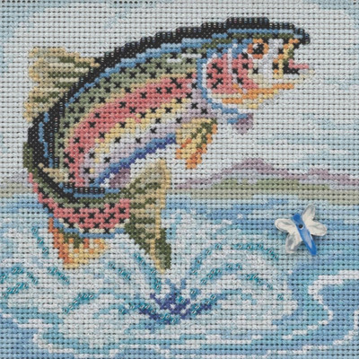 Stitched area of Rainbow Trout Cross Stitch Kit Mill Hill 2021 Buttons & Beads Spring MH142114