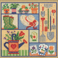 Stitched area of Garden Sampler Cross Stitch Kit Mill Hill 2021 Buttons & Beads Spring MH142113