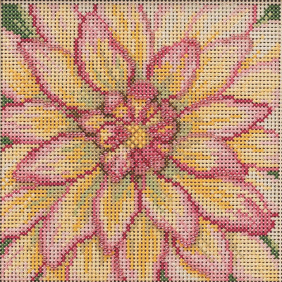 Stitched area of Dahlia Cross Stitch Kit Mill Hill 2021 Buttons & Beads Spring MH142112