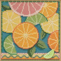 Stitched area of Citrus Cross Stitch Kit Mill Hill 2021 Buttons & Beads Spring MH142111