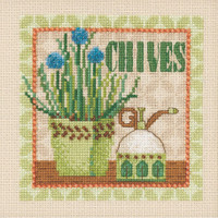 Stitched area of Chives Beaded Cross Stitch Kit Mill Hill 2021 Debbie Mumm DM302111 Growing Green