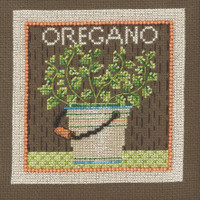 Stitched area of Oregano Beaded Cross Stitch Kit Mill Hill 2021 Debbie Mumm DM302112 Growing Green