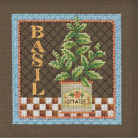 Stitched area of Basil Beaded Cross Stitch Kit Mill Hill 2021 Debbie Mumm DM302113 Growing Green