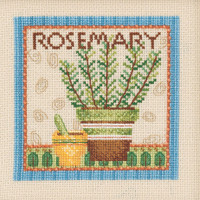 Stitched area of Rosemary Beaded Cross Stitch Kit Mill Hill 2021 Debbie Mumm DM302114 Growing Green