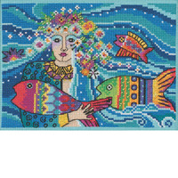 Stitched area of Ocean Goddess Cross Stitch Kit Mill Hill 2021 Laurel Burch LB302111
