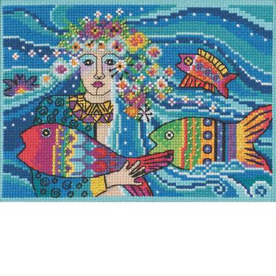 Stitched area of Ocean Goddess Cross Stitch Kit Mill Hill 2021 Laurel Burch LB302111