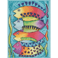 Stitched area of Peces Cross Stitch Kit Mill Hill 2021 Laurel Burch LB302112