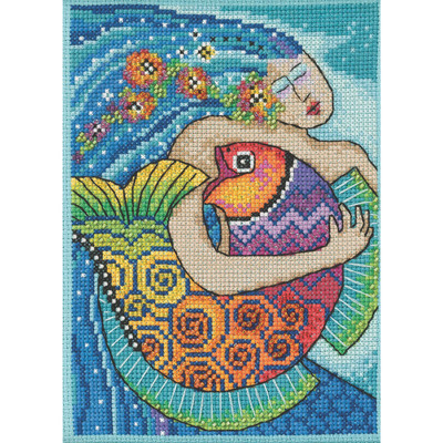 Stitched area of Ocean Song Cross Stitch Kit Mill Hill 2021 Laurel Burch LB302113