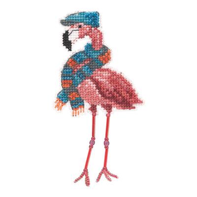 Fall Flamingo Beaded Cross Stitch Kit Mill Hill 2021 Autumn Harvest MH182123
