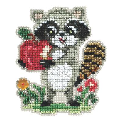 Rosie Raccoon Beaded Cross Stitch Kit Mill Hill 2021 Autumn Harvest MH182122