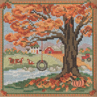 Stitched area of Autumn Swing Cross Stitch Kit Mill Hill 2021 Buttons & Beads Autumn MH142126