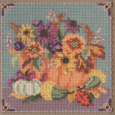 Stitched area of Floral Pumpkin Cross Stitch Kit Mill Hill 2021 Buttons & Beads Autumn MH142125