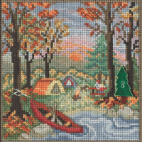 Stitched area of Outdoor Adventure Cross Stitch Kit Mill Hill 2021 Buttons & Beads Autumn MH142124