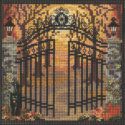 Stitched area of Spooky Gate Cross Stitch Kit Mill Hill 2021 Buttons & Beads Autumn MH142123