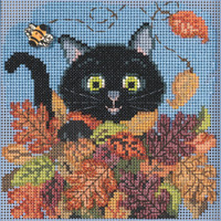 Stitched area of Playful Cat Cross Stitch Kit Mill Hill 2021 Buttons & Beads Autumn MH142122