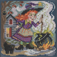 Stitched area of Witch's Brew Cross Stitch Kit Mill Hill 2021 Buttons & Beads Autumn SKU