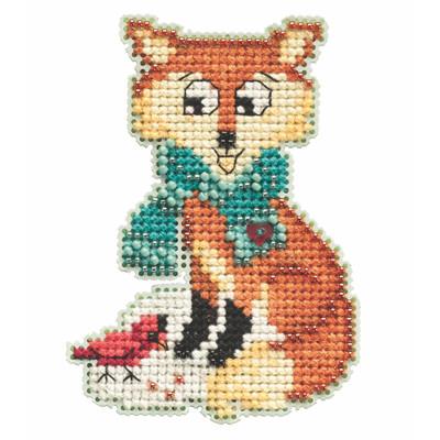Foxy Cross Stitch Ornament Kit Mill Hill 2021 Winter Holiday MH182136