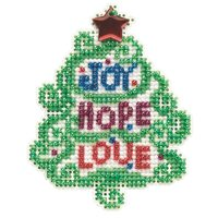 Joy Hope Love Cross Stitch Ornament Kit Mill Hill 2021 Winter Holiday MH182133
