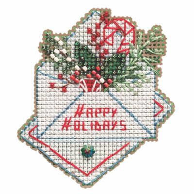 Holiday Wishes Cross Stitch Ornament Kit Mill Hill 2021 Winter Holiday MH182132