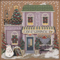 Stitched Area of Cafe Grande Cross Stitch Kit Mill Hill 2021 Buttons Beads Winter MH142136