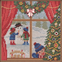 Stitched area of Christmas Break Cross Stitch Kit Mill Hill 2021 Buttons Beads Winter MH142135