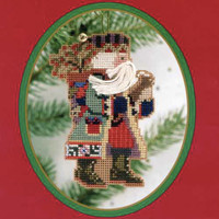 Holly Berries Santa Bead Ornament Kit Mill Hill 1999 Northwoods Santas