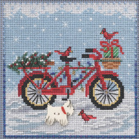 Stitched area of Holiday Ride Cross Stitch Kit Mill Hill 2021 Buttons Beads Winter MH142134