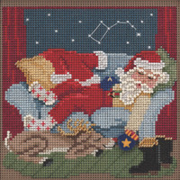 Stitched area of Good Night Santa Cross Stitch Kit Mill Hill 2021 Buttons Beads Winter MH142133