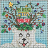 Stitched area of Beary Merry Christmas Cross Stitch Kit Mill Hill 2021 Buttons Beads Winter MH142132