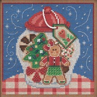 Stitched area of Cookie Jar Cross Stitch Kit Mill Hill 2021 Buttons Beads Winter MH142131