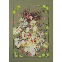 Stitched area of Ophelia Kit Cross Stitch Chart Beads Floss MD175 Mirabilia Nora Corbett