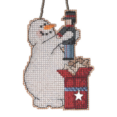 Wishing Snowman Beaded Counted Cross Stitch Kit Mill Hill 2021 Charmed Ornament MH162131