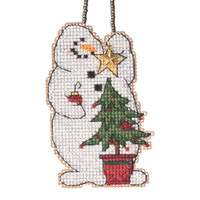 Trimming Snowman Beaded Counted Cross Stitch Kit Mill Hill 2021 Charmed Ornament MH162132