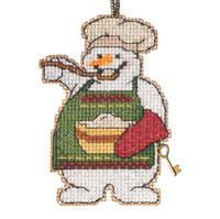 Cooking Snowman Beaded Counted Cross Stitch Kit Mill Hill 2021 Charmed Ornament MH162135