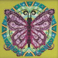 Stitched area of Spring Mandala Cross Stitch Kit Mill Hill 2021 Mandala Quartet MH172111