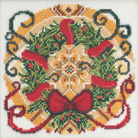 Stitched area of Winter Mandala Cross Stitch Kit Mill Hill 2021 Mandala Quartet MH174114
