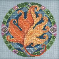 Stitched area of Fall Mandala Cross Stitch Kit Mill Hill 2021 Mandala Quartet MH172113