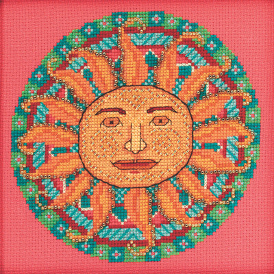 Stitched area of Summer Mandala Cross Stitch Kit Mill Hill 2021 Mandala Quartet MH172112