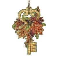 Autumn Key Cross Stitch Ornament Kit Mill Hill 2021 Antique Keys Trilogy MH192112