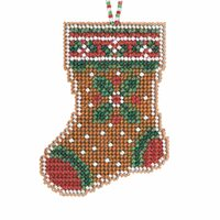 Gingerbread Stocking Cross Stitch Ornament Kit Mill Hill 2021 Beaded Holiday