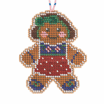 Gingerbread Lass Cross Stitch Ornament Kit Mill Hill 2021 Beaded Holiday