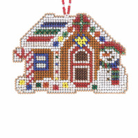Gingerbread Cabin Cross Stitch Ornament Kit Mill Hill 2021 Beaded Holiday