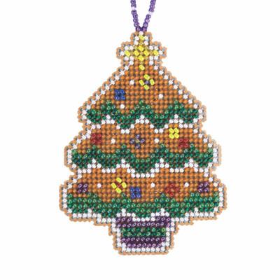 Gingerbread Tree Cross Stitch Ornament Kit Mill Hill 2021 Beaded Holiday