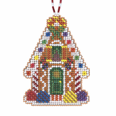 Gingerbread Chalet Cross Stitch Ornament Kit Mill Hill 2021 Beaded Holiday
