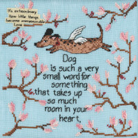 Stitched area of Dog is a Small Word Beaded Cross Stitch Kit Curly Girl 2021 Mill Hill CG302112
