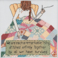 Stitched area of Stitched Together Beaded Cross Stitch Kit Curly Girl 2021 Mill Hill CG302113