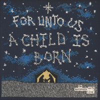 Stitched area of A Child is Born Beaded Cross Stitch Kit Curly Girl 2021 Mill Hill CG302114