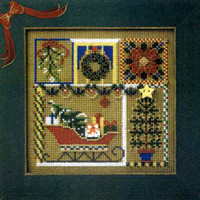 Holiday Greetings Bead Cross Stitch Kit Mill Hill 2000 Buttons & Beads