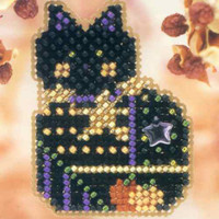 Haunted Kitty Halloween Bead Kit Mill Hill 2001 Autumn Harvest