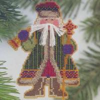 Bell Ringer Santa Beaded Ornament Kit Mill Hill 2001 Woodland Santas